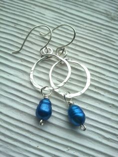 silver wire hammered hoops with wire wrapped by RisingDawnBoutique, $20.00