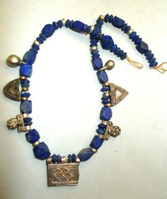 Old African Silver Amulets,Beads,Charms,Lapis Lazuli Cornerless Strand Stunning