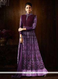 Vivacious Faux Georgette Purple Designer Floor Length Suit Model: YOS9288