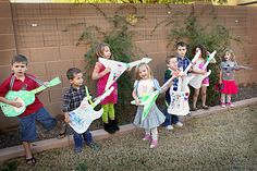 Rock and roll party...decorate your own guitar. Cute!