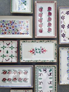 Our Medium Rectangular Plates in various patterns. Nicholas Mosse Pottery