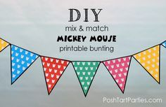 Free printable {Mix & Match} Mickey Mouse Party Bunting - in green, blue, red, yellow, and pink!