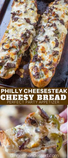 Philly Cheesesteak Cheesy Bread - Dinner, then Dessert - Philly Cheesesteak Cheesy Bread is cheesy and crunchy and full of delicious cheese steak flavors including ribeye steak, green bell peppers, onions and mushrooms. Steak Recipes, Cooking Recipes, Steak Sandwich Recipes, Cooking Kale, Seared Salmon Recipes, Football Food, Beef Dishes, Cheese Dishes, Food Dinners
