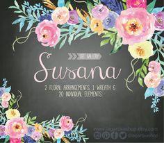 Watercolor clipart Floral PNG wedding bouquet arrangement bouquet frames digital paper blue flowers bridal shower for blog banner (5.00 USD) by LagartixaShop