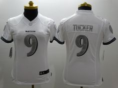 7772f422c Womens Baltimore Ravens 9 Tucker Platinum White 2015 NEW Nike Limited  Jerseys Baltimore Ravens