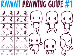This is a huge guide to drawing in Kawaii Style (Super Cute Kawaii People : Faces and Body Poses). We have several reference sheets below that will show you how to draw Kawaii people poses, facial expressions / emotions, kawaii faces, and color palettes for Kawaii style as well. This is a page that you should bookmark and reference often. Have fun and Happy Drawing!