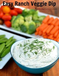 Easy Ranch VeggieDip  8 oz of Sour Cream  1/3 cup Mayonnaise  1 teaspoon of Onion Powder  1/2 teaspoon of Garlic Powder  2 teaspoons of Dried Dill  1 teaspoon of Dried Basil  1/2 teaspoon of Dried Parsley  Salt and Pepper (to taste)