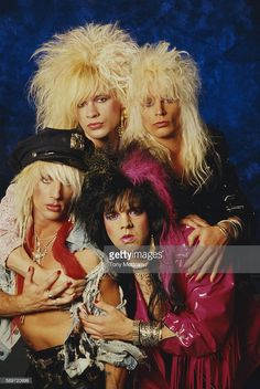 Portrait of Welsh Glam rock band Tigertailz mid to late Pictured are fore from left Steevi Jaimz and Jay Pepper rear from left Pepsi Tate and. Band Pictures, Band Photos, Hair Metal Bands, Hair Band, 1980s Looks, Glam Rock Bands, Glam Metal, Rock Of Ages, Music Photo