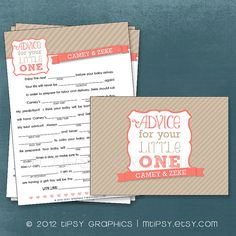Simple Stripes Funny Baby MadLibs Advice for your Little by MTipsy, $16.00