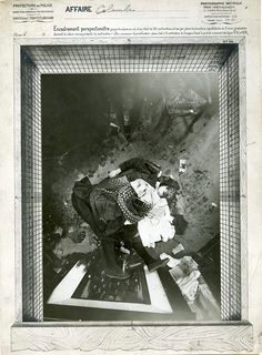 One of Alphonse Bertillon's so-called 'God's-eye view' photographs of a Paris crime scene. He pioneered the technique, that involved mounting his camera on a very tall tripod above the body of a murder victim, to enable the police to capture the most comprehensive and accurate picture of a crime scene as possible. From 'Forensics: The Anatomy of Crime' exhibition at the Wellcome Collection