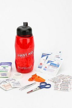 First aid kit in a water bottle. smart.