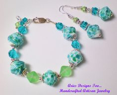 Tidal Pools Bracelet & Earrings SetTeal White by ariesdesignstoo