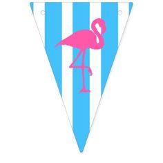 Flamingo on caribbean blue stripe flags