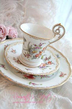 Unusually slim cup with saucer & luncheon plate.