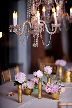 Glitter gold vases + pink peonies. After Yes.