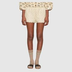 3a3d35ec334 Shop the GG macramé shorts by Gucci. Developed in a new