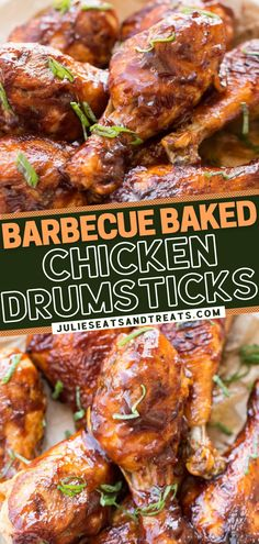 You can't go wrong with this recipe when having guests over! Baking keeps these chicken drumsticks healthy while giving them a delicious crunch. Finished with barbecue sauce, they become juicy and flavorful! Enjoy this easy game day food as an appetizer or main dish! Easy Dinner Recipes, Snack Recipes, Easy Meals, Cooking Recipes, Yummy Recipes, Barbecue Chicken, Barbecue Sauce, Bbq, Baked Chicken Drumsticks