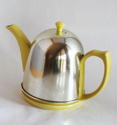 Retro Art Deco Vintage Hall Teapot. Adorable Yellow with Insulated Cozy. 45.00, via Etsy.