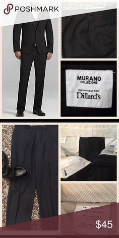 Murano🔴Dillards🔴34 Reg Black Suit Pants From Murano, these black suit pants feature: flat front hook and bar front closure 2-front pockets 2-back welt pockets 100% wool  Matching Suit Jacket is listed🚫trades Murano Suits & Blazers Suits