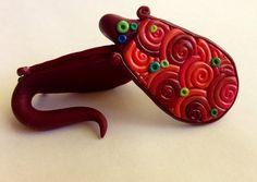Red spiral filigree art deco gauge earrings by Eargasmos on Etsy, $32.50