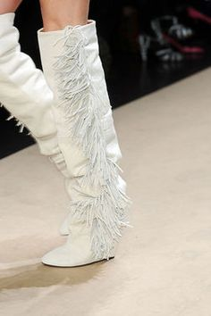 White Boots with Fringe...