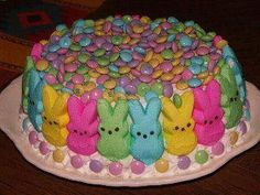 peeps and M's easter cake