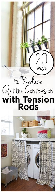 Using Tension Rods, How to Use Tension Rods in the Home, Uses for Tension Rods, Popular Pin, Home Organization, Home Organization Hacks, Clutter Free Home Hacks