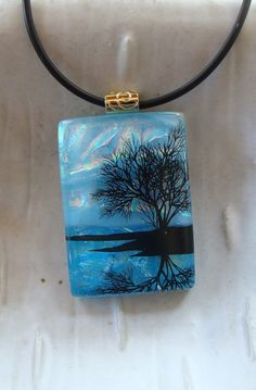 Gorgeous! - Fused Dichroic Glass Pendant Reflecting Tree Blue by myfusedglass, $26.00