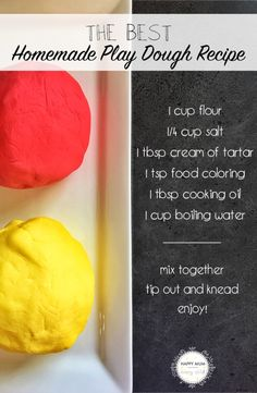 The best, and easiest, homemade play dough recipe!