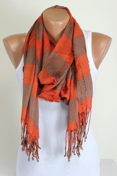 Orange, Brown, Unisex Scarf, Line Drawing Scarf, Women Fashion Accessories, 4 Seasons, Shawl, Wrap, Foulard, Scarves, Gift Ideas for Her by echerpe   #etsyfinds   #scarves   #etsyseller   #happy   #dresses   #style   #stylish   #etsyfinds   #scarf