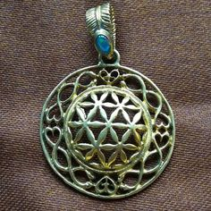 Flower of Life Pendant with Fire Opal