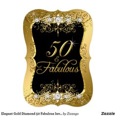 Elegant Gold Diamond 50 & Fabulous Invite Black and Gold Fabulous Birthday Party Invitation. Elegant Gold swirls with sparkle diamond jewels. Please note: All flat images! 50th Birthday Cake Toppers, 50th Birthday Party Invitations, Birthday Parties, Birthday Woman, Happy Birthday, 50 And Fabulous, Personalized Gifts, Invite, Diamond