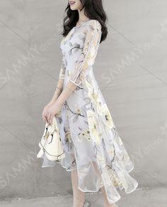 Mulheres  's Chic Voile emendado 3/4 Jewel Neck Vestido Flower