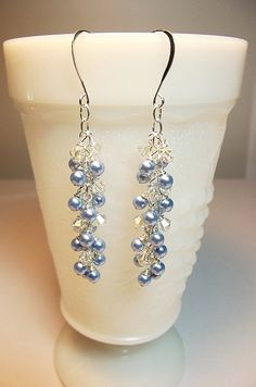 Swarovski Blue Pearl and Crystal Long Cluster Earrings, Valentines Mothers Day Gift, Bridesmaid Wedding Mom Sister Jewelry Gift, Slinky