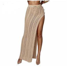 Summer Beach Side Split Long Skirt Hollow Out Knitted Irregular Maxi Skirt Drawstring Asymmetrical Crochet Skirt Color Black Size S Diy Maxi Skirt, Mesh Skirt, Knit Skirt, High Street Dresses, Handmade Skirts, Side Split, Boutique, Asymmetrical Dress, Ankle Length