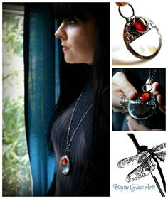 Magnifying Glass Necklace Red Glass Focal by BayouGlassArts