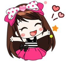A little girl with a shy temperament and generous. Her favorite is chocolate Come and enjoy the Her stickers Then you'll love Cute Cartoon Pictures, Cute Love Cartoons, Cute Cartoon Girl, Cartoon Drawings, Cute Drawings, Emoji Wallpaper Iphone, Korean Stickers, Portrait Cartoon, Cute Girl Drawing
