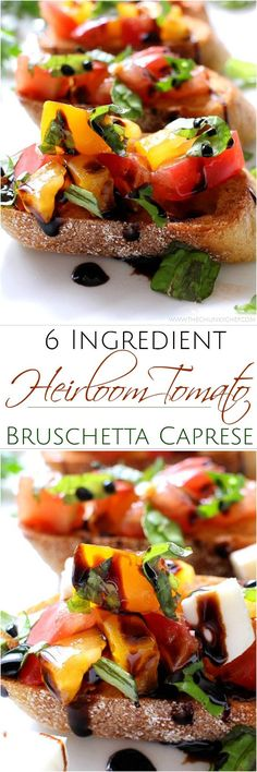 The Chunky Chef | A recipe for classic bruschetta gets a gourmet twist by using sweet heirloom tomatoes, basil, fresh mozzarella, and drizzled with a decadent balsamic reduction glaze!