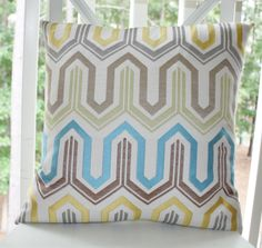 Decorative Designer Pillow - Blue Yellow Green Jacquard Zig Zag Geometric Pillow Cover 20 x 20 -  Throw Pillow. $40.00, via Etsy.