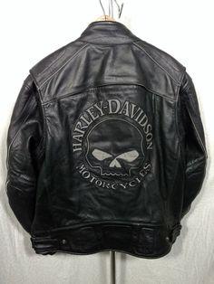 lb Harley Davidson Men's Reflective Skull Willie G Leather Jacket XL