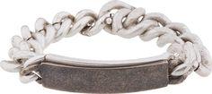 Maison Martin Margiela Silver Curb Chain Double I.D. Bracelet