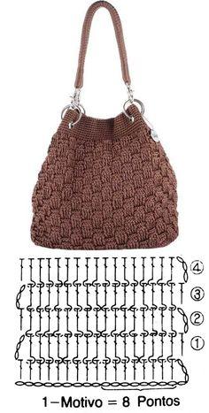 Crotchet Bags, Knitted Bags, Crochet Handbags, Crochet Purses, Crochet Star Stitch, Crochet Shawl Diagram, Crochet Purse Patterns, Crochet Symbols, Crochet Barbie Clothes