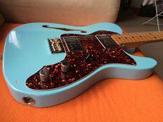 Fender 72 Telecater thinline custom shop in Daphne blue.