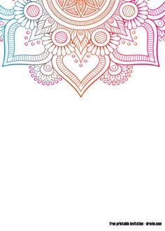 Round gradient mandala on white isolated background. Vector boho mandala in green and pink colors. Mandala with floral patterns. Free Birthday Invitation Templates, Templates Printable Free, Free Printables, Mandala Yoga, Mandala Drawing, Yoga Background, Background Patterns, Mandala Printable, Invitation Background