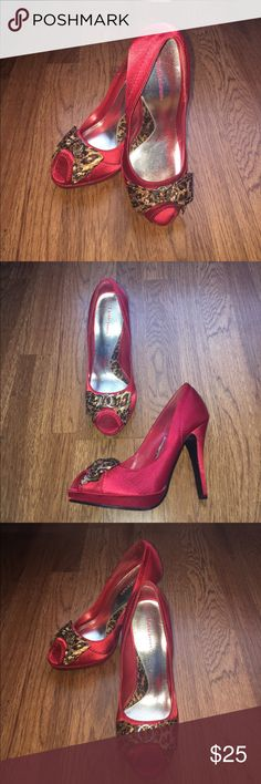 Heels Sexy Red High Heels with Leopard Bow. Size 7, brand new. Delicious Shoes Heels