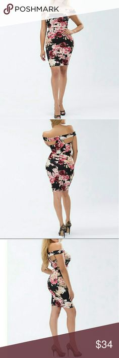 Off the shoulder floral bodycon dress Sexy and feminine, this dress is perfect for Valentine's Day or date night!  95% Polyester  5% Spandex Dresses