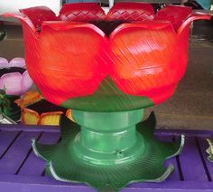 PAINTED TIRES AS FLOWER CONTAINERS | Home :: RECYCLED TIRE ART :: Solid Red Recycled Tire Flower Pot/Party ...