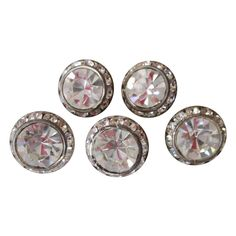 Set 5 Rhinestone Dome Buttons.  Offers accepted, mail to: vanityflairvintage@gmail.com    http://www.rubylane.com/item/676693-CO813/Set-5-Rhinestone-Dome-Buttons