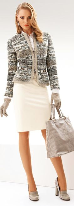 I love this blazer and would wear it with tan or gray slacks.  The ivory skirt is pretty but I'd never wear it.