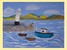 Shop Quirky harbour Smeatons Pier St Ives Poster created by artistjandavies. Creating Art, Contemporary Art For Sale, Painting, Original Art For Sale, Whimsical Art, Art, Whimsical Paintings, Seascape Paintings, Original Art